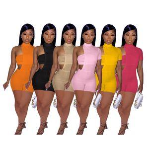 Trajes de mujer Set de dos piezas Diseñador Diseño de color irregular de color sólido con cofre envuelto Onesies Onesies Slim Sexy Mampers