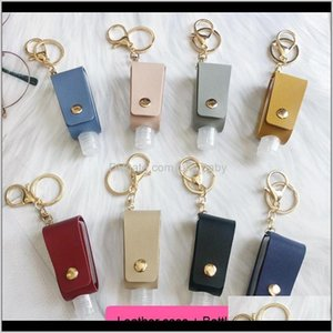Keychains Fashion Accessories Drop Delivery 2021 8 Colors Portable Hand Sanitizer Key Chain Ornaments Leather Case Per Storage Bag T-Shaped B