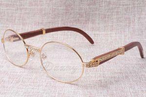 New Diamond Round Sunglasses Cattle Horn Eyeglasses 7550178 Wood Men and women sunglasses glasess Eyewear Size: 55-22-135mm