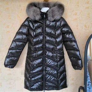 Женщины 100% большие настоящие лисы мех с капюшоном белая утка вниз куртка теплый х-длинный зимнее пальто тонкий водонепроницаемый Parkas черный