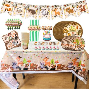 Cake Topper, Banner,Forest Birthday Party Decoration, Animals Zoo Fox Lion Elephant Boys Disposable Tableware