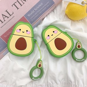 3D Cartoon Avocado Wireless Bluetooth Earphone Protective Case for AirPods 1st 2nd Generation 1 2 Soft Silicon Cover Accessories 50pcs