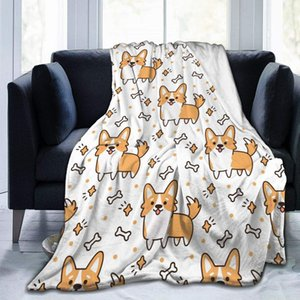 """Cute Corgi with Bones Flannel Fleece Throw Blanket 50""""x60"""" Living Room Bedroom Sofa Couch Warm Soft Bed Blanket for Kids Adults"""