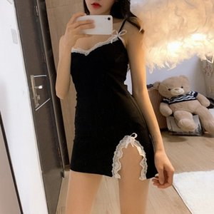 Dressees French Sexy Suspender Dress Lace Stitching Bed Skirt with V-neck Backing