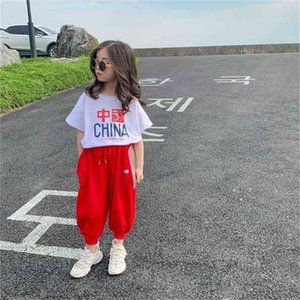Summer Arrival Girls Fashion Letter T Shirt Kids 2 Pieces Suit Top+pants 210528