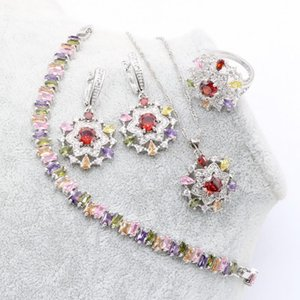 Earrings & Necklace Fashion Jewelry Sets For Women Sterling Silver Color Multicolor Stones Zirconia Trendy Pendant Bracelet Ring