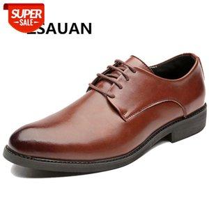Chaussures en cuir Derby classiques Derby Black Brown Date-up Office Vendeur Daily Boss Business Robe # 6y0b