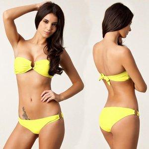 Women's Swimwear Bandeau Swimming Suits Vintage U Ringed Bikini Set Removable Push Up Fully Lined 2021 Beach Swimsuit