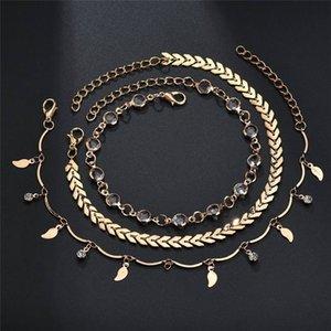 Arrow Leaf Tassel Anklet Chain Gold chains diamond Wrap Foot Bracelet women Fashion Jewelr