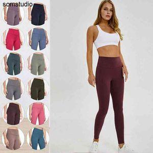 Leggings Womens Yoga Suit Suit Pantaloni a vita alta Sport Aumentando i fianchi Palestra Abbigliamento Allineare Allenamento per calzamaglia di fitness elastici
