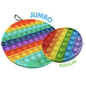 Jumbo Rainbow Poppers Доска сенсорные Fidge Toys Большой размер Push Bubble Pop Bubble Popper Pad Trange Stress Reliver POO - Его настольный головоломки палец веселье H413GXN