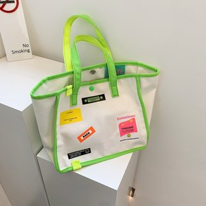 Fashion trend contrast canvas bag women's handbag literature shopping bag shoulder bag