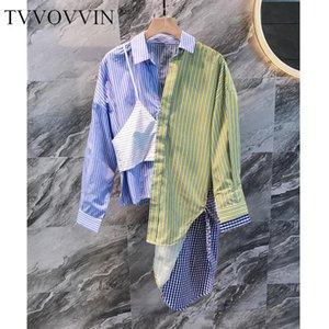 Mulheres Blusa Stripe Stitching Camisa Das Mulheres Soltas Longas Longas Tops Assimetria Outono Inverno 2021 Q7 Mulheres Blusas Camisas