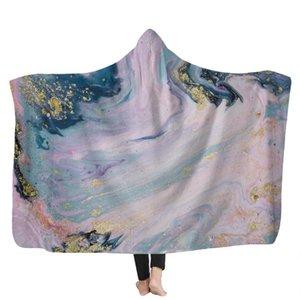 Psychedelic Art Marble Swirl blanket Gouache flowing gold Children Hooded Blanket Soft Warm Sherpa Fleece wearable Blankets for GWD11124