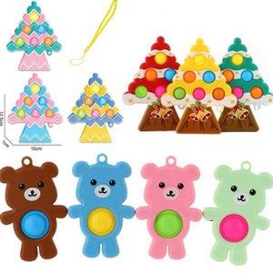 Empurrar fidget brinquedo bolha dos desenhos animados chaveiros brinquedos de silicone pioneiro pressão árvore de Natal forma popper chaveiro anel kids stress relevo squeeze placa g68tsx4