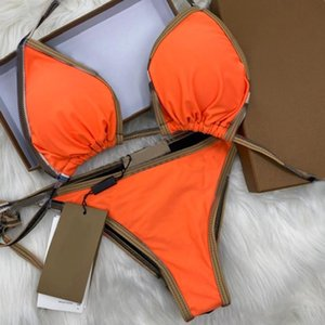 Womens Maillots de bain design de luxe B Bikini Ensemble Orange Deux pièces Bikinis 2021 Bandage Sexy Push Up Swimsuit Femmes Baignade Cuisson avec des tags