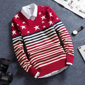 trend long sleeve men's crew neck Korean version of slim autumn and winter Sweater Men Sweater 20191