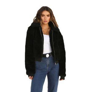 Solid Color Turn-Down Zipper Slim Plush Jacket Women 2021 Winter Thicken Warm Comfort Coat