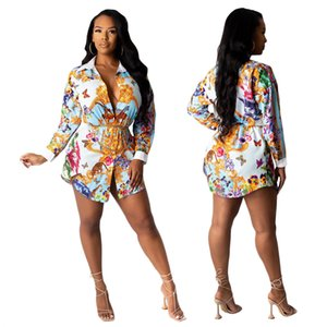 Digital Printed Shirt Women's Lapel Long-Sleeved Collocation Buttons Fashion Casual All-Match Loose Long Shirts Plus Size S-2XL