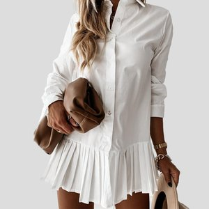Retrieve Long Mouw White Shirt Plotted 2021 Women Casual Turn Down Collar Mini Dress Button Lady a Line Office Dresses