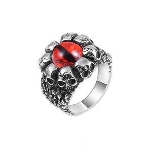 Кольца Новый Тигр Глаз Камень мужской Кольцо Титановый Сталь Череп 316L Кольцо из нержавеющей стали