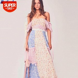 dress Boho loveshack summer square neck ruffles slim high waist silk-like holiday ins bloggers patchwork special interest Party #9M3d