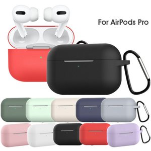 DHL Newest Thick Liquid Silicone Cases Waterproof for Apple AirPods Pro with Metal Buckle 12 Colors Optional Earpbuds Case
