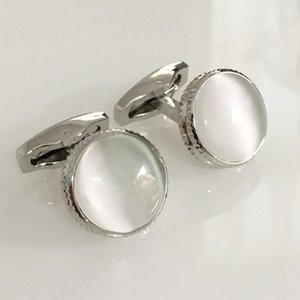 Natural White Opal Stone Cuff Links Cufflinks for Mens Vintage Sliver Color Plated High Quality Round Stones Cufflink Gift