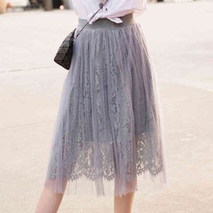 Casual Dresses Spring Sweet Floral Crochet Lace Patchwork Tulle Calf Long A-line Pleated Skirts IF4I