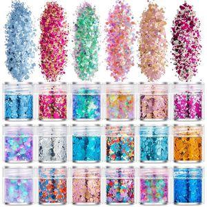 18 Bottles Nail Art Sequins Shinning Filling Flash Glitter Powder UV Epoxy Resin Pigment Dust Manicure DIY Fingers Beauty Decor