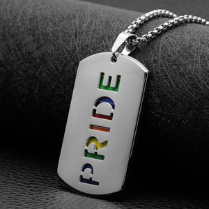 Necklaces Mens Pride Gay Doble Capa Nameplate Women Pendants Wholesale Necklace Stainless Steel Chain Hip Hop On The Neck Simple Pendant