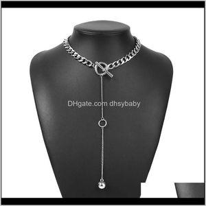 Colares pingentes de jóias entrega de jóias 2021 Bib Chunky borla gargantilha gargantilha para mulheres estilo punk bola redonda colar de pingente sier / ouro