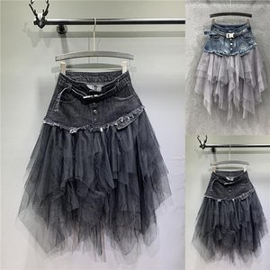 Summer Irregular Jeans Skirts Womens High Waist Tulle Skirt Long Denim Pleated Midi Skirts Mesh Patchwork Pockets Tassel Belt