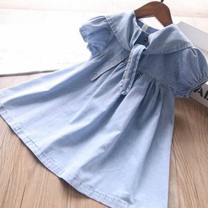Girl's Dresses Baby Girls Casual Dress Outfits Clothes Child Summer Denim Short Sleeve Bowknot Kids Clothing 2-6Y B4717