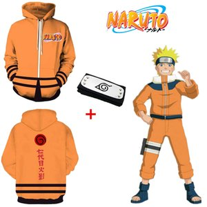 Asian Size Japan Anime Uzumaki Naruto 7th Halloween 3D Cosplay Costume Long Sleeve Unisex Sports Coat Jacket Hoodie Headband Designer luxury