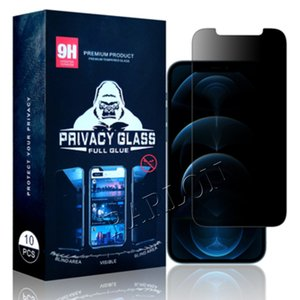 Case Friendly Full Glue Anti-Spy Screen Protector For iPhone 12 Mini 11 Pro X XS MAX XR 8 7 6 Plus 9H Privacy Tempered Glass With Retail Package
