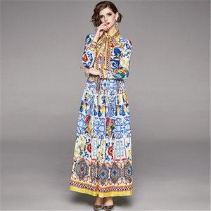 Повседневные платья Высококачественный дизайнер с длинным рукавом поворотный воротник с длинным рукавом. Урожай синий и белый фарфоровый принт.