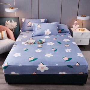 Sheets & Sets 1Pc Flannel Bed Covers Queen Flower Print Fitted Sheet With Elastic Couvre Lit For Double Beds King Blue Winter