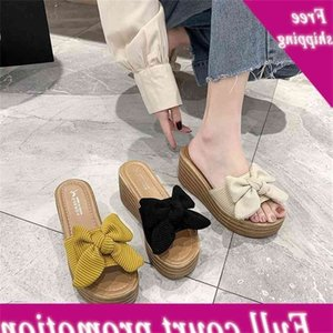 Slope heel women's 2021 summer new thick bottom muffin with bow high-heeled slippers