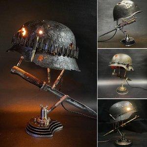 Party Hats 2021 Halloween War Lamp Yard Garden Decor Relic Helmet Hole Bayonet Desk Accessories Retro Home Decoration