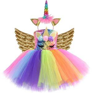 Rainbow Sequin Unicorn Kids Dress Up Costumes Princess Girl Dress Party Costume Halloween Flower Girls Dresses for Weddings Knee X0401