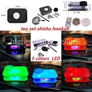 Tea set shisha hookah Kits led lighting RGB acrylic Party Bar Dabber Pipe water pipes controlled lights