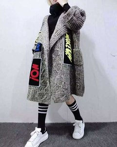 men's and womens Clothing Long Thick Women Cardigans Fashion Individuality New Appliques Knitted Coat Women's Sweater Shawl And Ponchos TNXT 5KV3