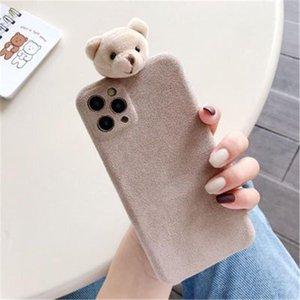 Suitable phone cases for iPhone 12 11 Pro X Xr Xs Max Mini 7 8 Plus SE mobile cartoon Three dimensional Plush Bear