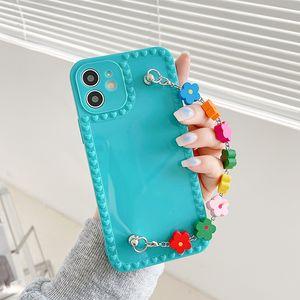 Bracelet Chain Phone Cases for Iphone 12 11 Pro XS Max Mini XR X 8 7 6S 6 Plus Cellphone Cover with Flower Wrist Strap Wholesale Bulk 97266