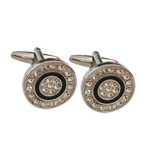 Elegant Full Diamond Cuff Links Cufflinks for Mens Fashion Classic Black Circle High Quality Round Crystal Rhinestone Cufflink Gift