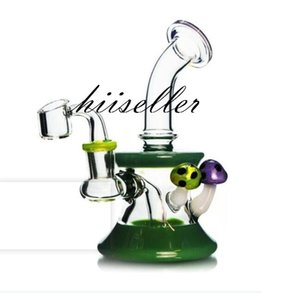 Stick Mushroom Bong Hookahs beaker Dab Rig Heady Glass Water Pipes Smoking Accessories Recycler Oil Rigs Unique Wax Cigarette With 14mm banger