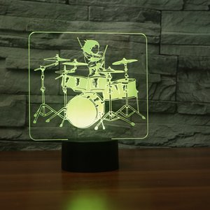 Drum Set 3D Night Light ,Touch 7 Colors Change, Optical Illusion LED Lamp USB Table Desk Lighting Kids Toy Bedroom Decor Xmas Holidays Birthday Gifts Boy Girl