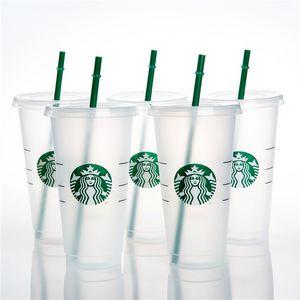 24OZ 710ml Starbucks Plastic Mug Tumbler Reusable Clear Drinking Flat Bottom Cup Pillar Shape Lid Straw DHL FY4758