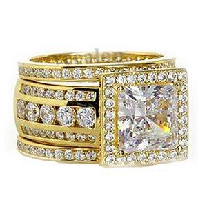 Rulalei Brand Unique Luxury Jewelry 925 Sterling Silver&Gold Fill Princess Cut White Topaz CZ Diamond 3pcs Party Eternity Women Wedding Bridal Ring Set Gift